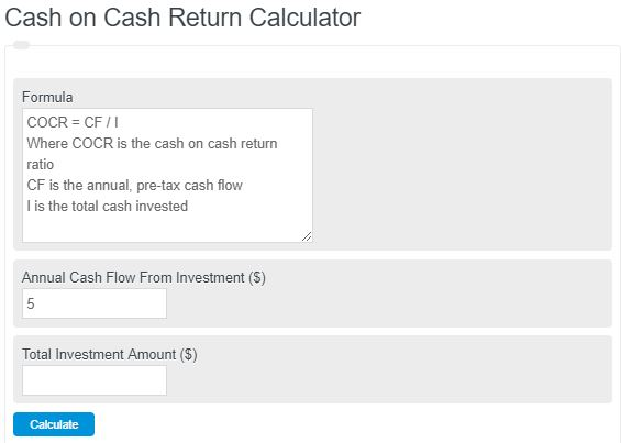cash on cash return calculator