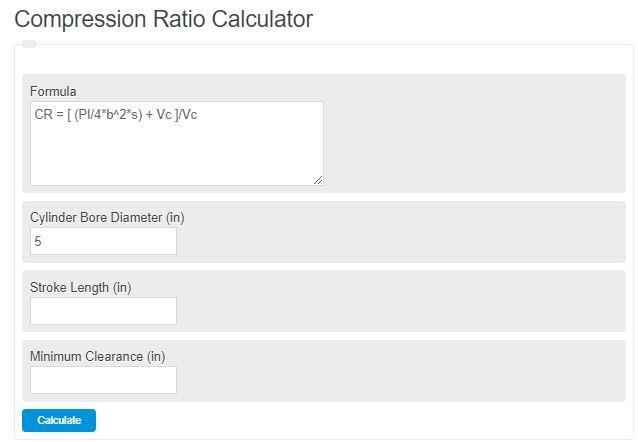 compression ratio calculator