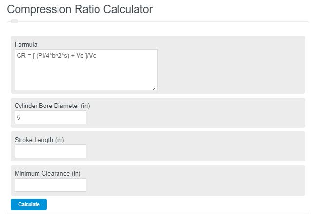 compression ratio calculator