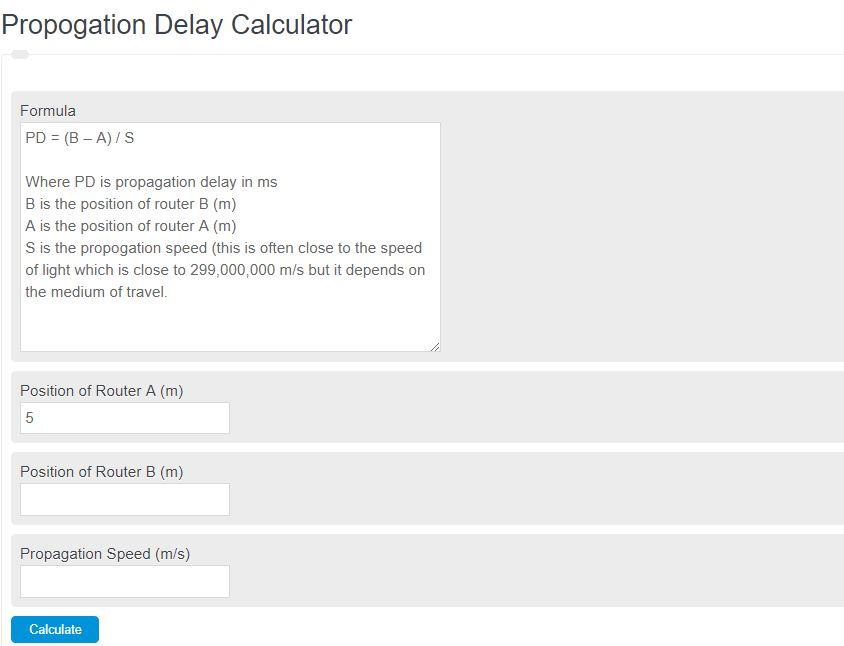 propagation delay calculator