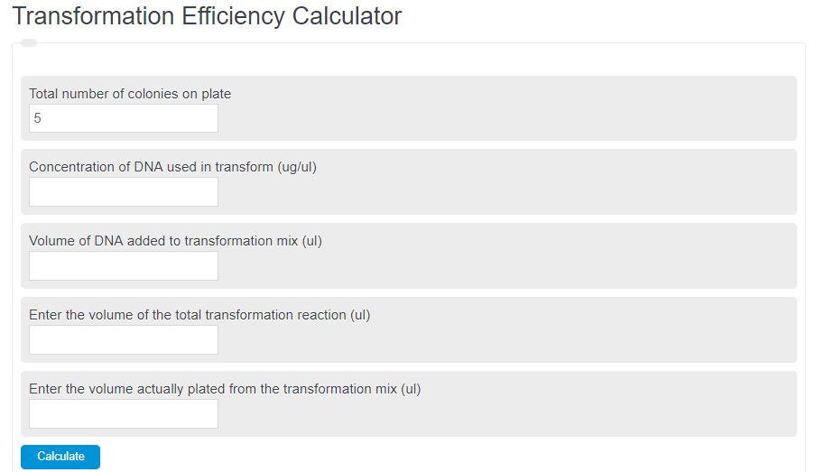 Transformation Efficiency Calculator
