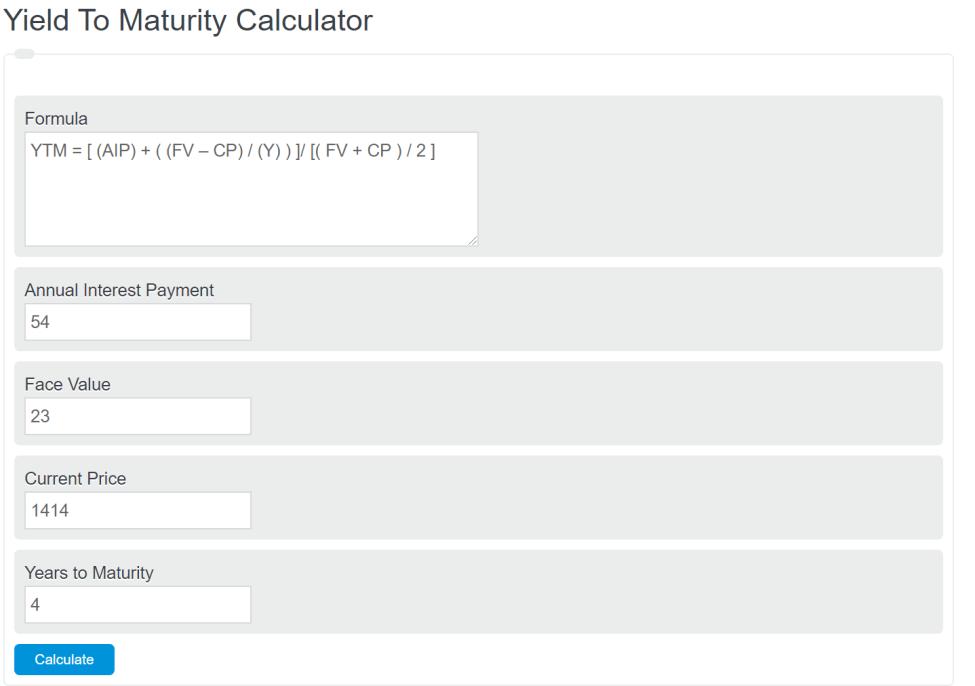 yield to maturity calculator