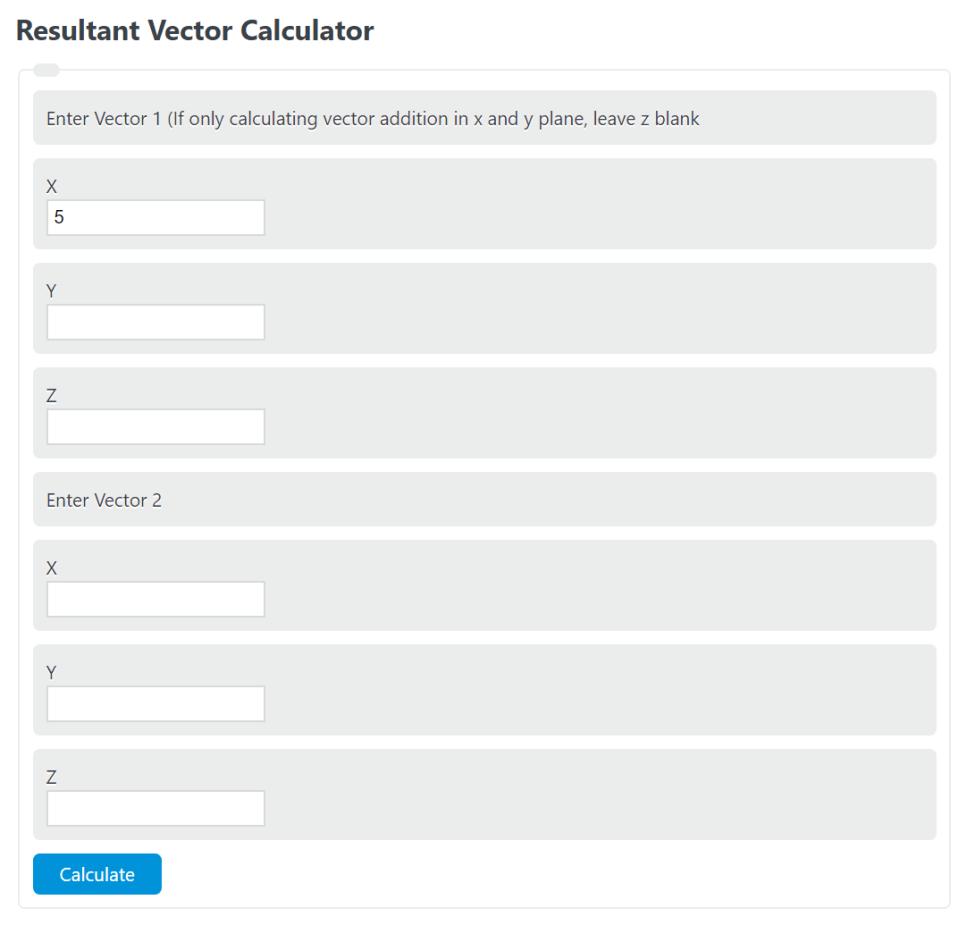 resultant vector calculator