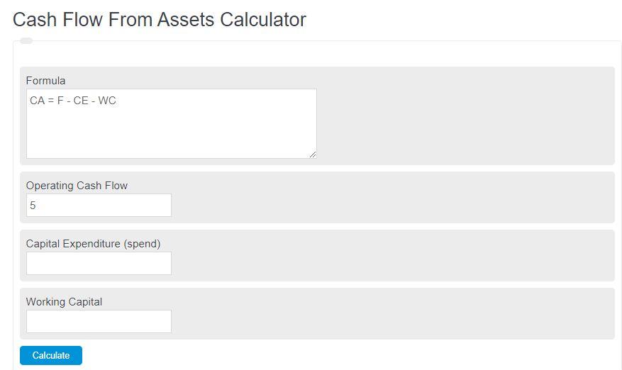 cash flow from assets calculator