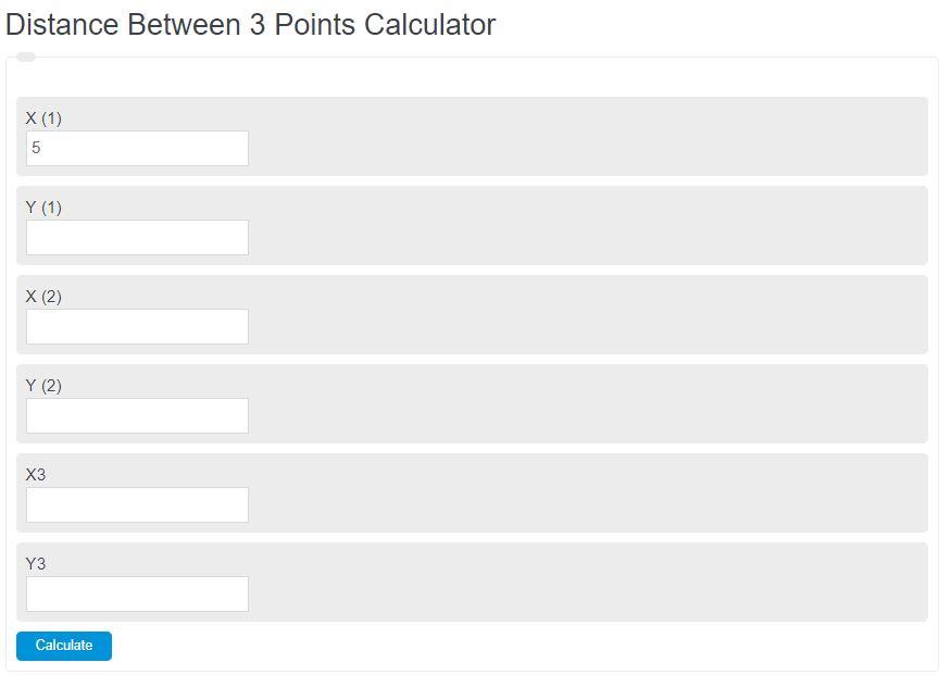 distance between 3 points calculator