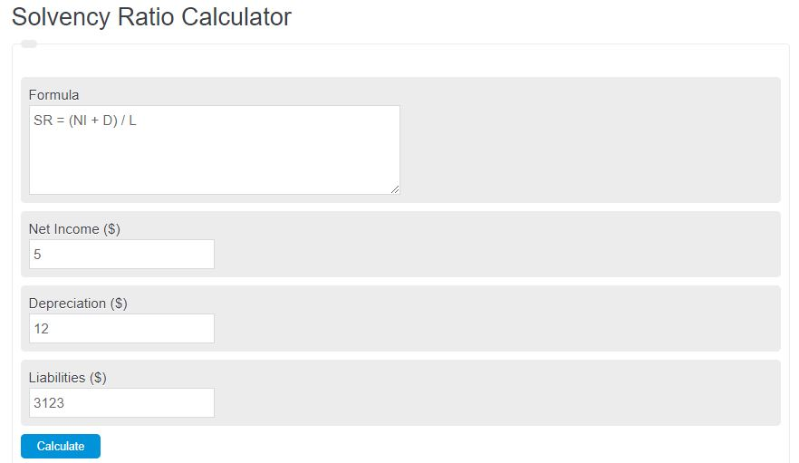 solvency ratio calculator