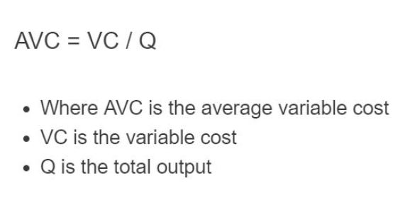 average variable cost formula