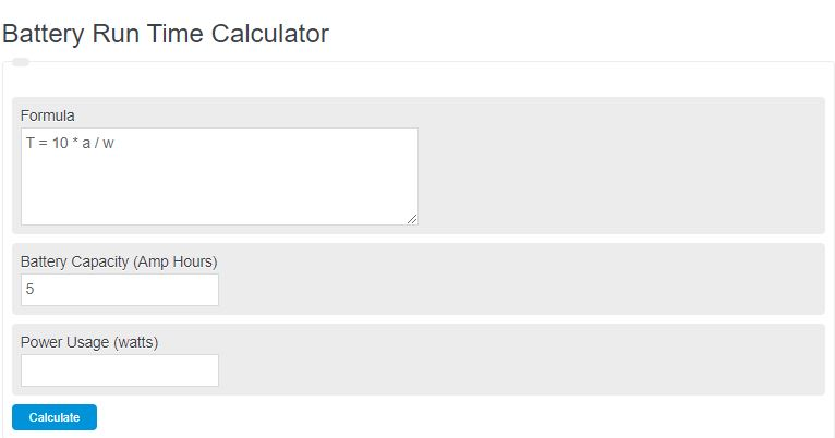 battery run time calculator
