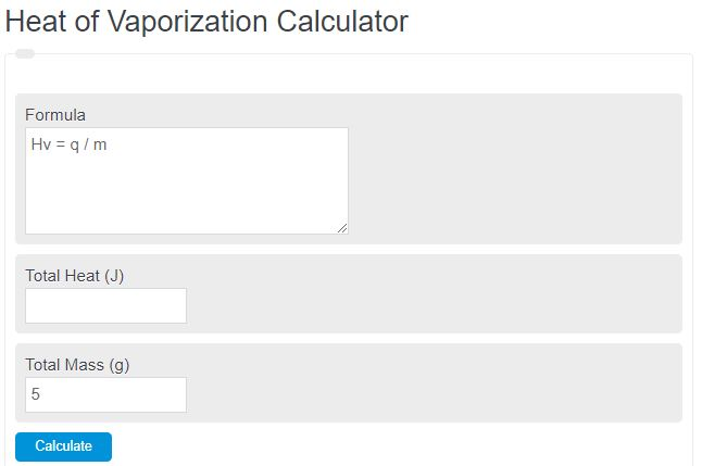 heat of vaporization calculator