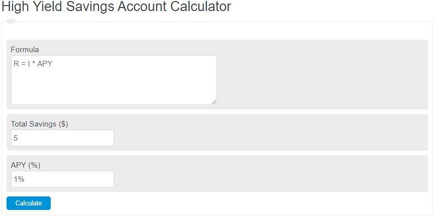 high yield savings account calculator