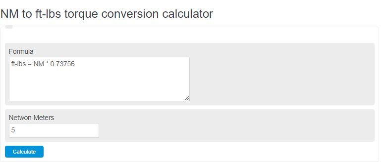 NM to ft-lbs torque conversion calculator