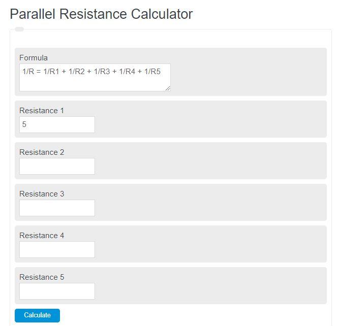 parallel resistance calculator