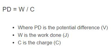 potential difference formula