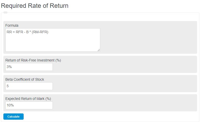 required rate of return calculator