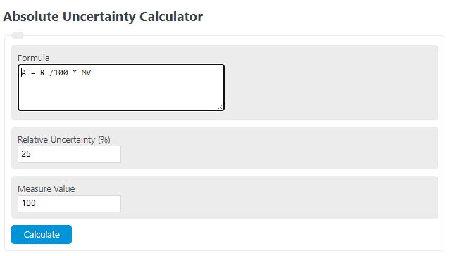 absolute uncertainty calculator