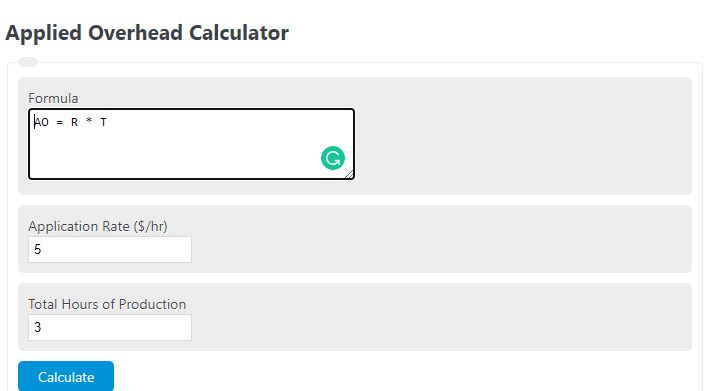 applied overhead calculator