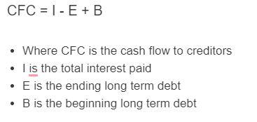 cash flow to creditors formula