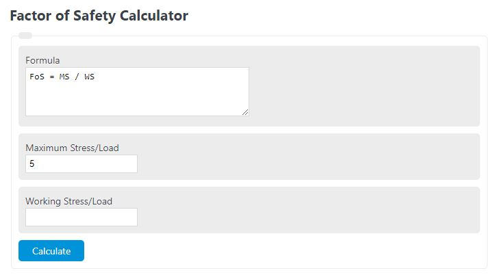 factor of safety calculator