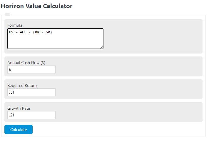 horizon value calculator