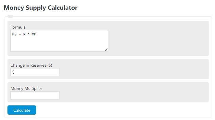money supply calculator