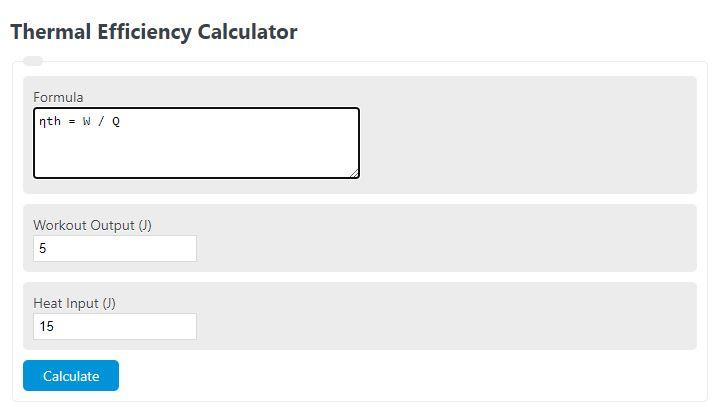 thermal efficiency calculator