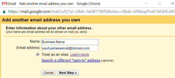 adding another email in Gmail settings