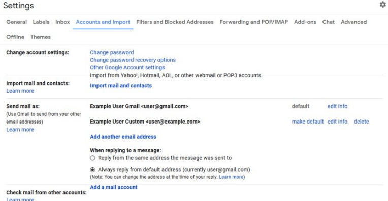changing the From line in Gmail
