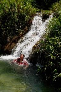 DSCF2509 Fran getting a waterfall massage
