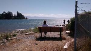 at Dad's bench on Whiffen Spit, Sooke