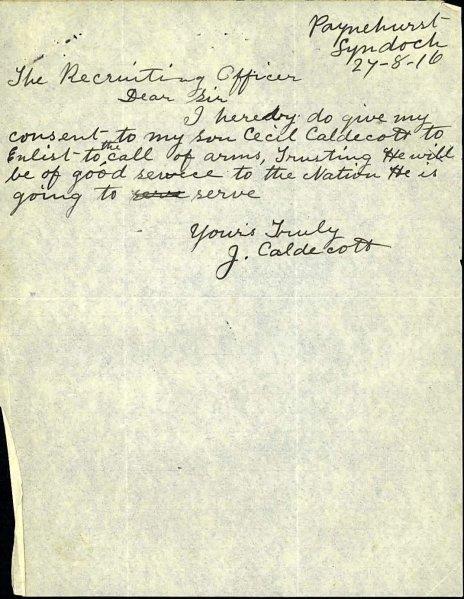 Cecil leonard Caldicott father's permission to enlist