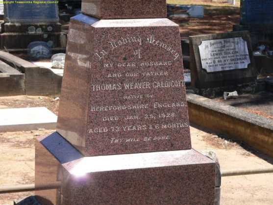 Thomas Weaver Caldicott Grave