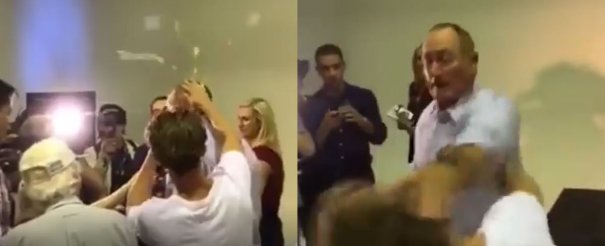 WATCH: Man hits Senator Fraser Anning with an egg, instantly regrets it. The Senator hits back!