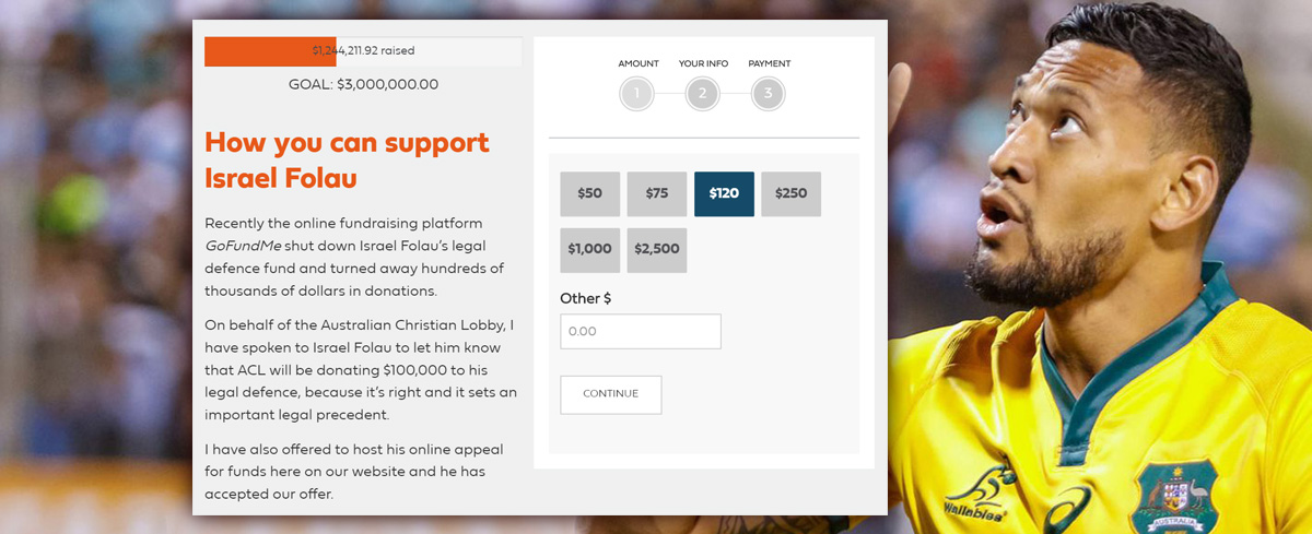 BACKFIRE: Israel Folau's supporters raise over $1 million in just one day after GoFundMe campaign shut down