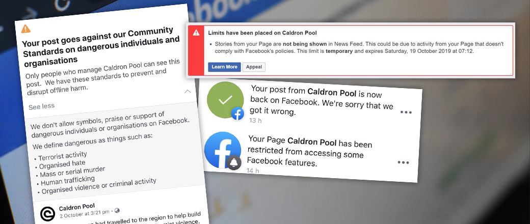 Facebook censors Caldron Pool after falsely accusing us of supporting terrorism
