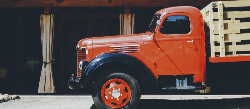 A vintage truck that could be used for shipping and transporting items
