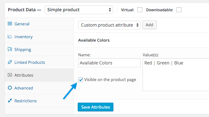 The attributes setting on a WooCommerce Product Settings Page