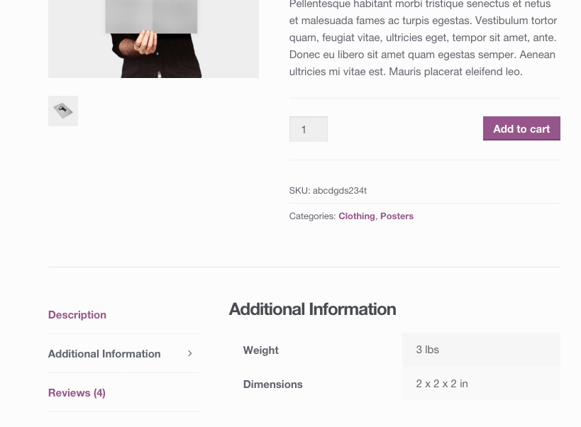 A website screenshot showing product shipping information on a woocommerce product page