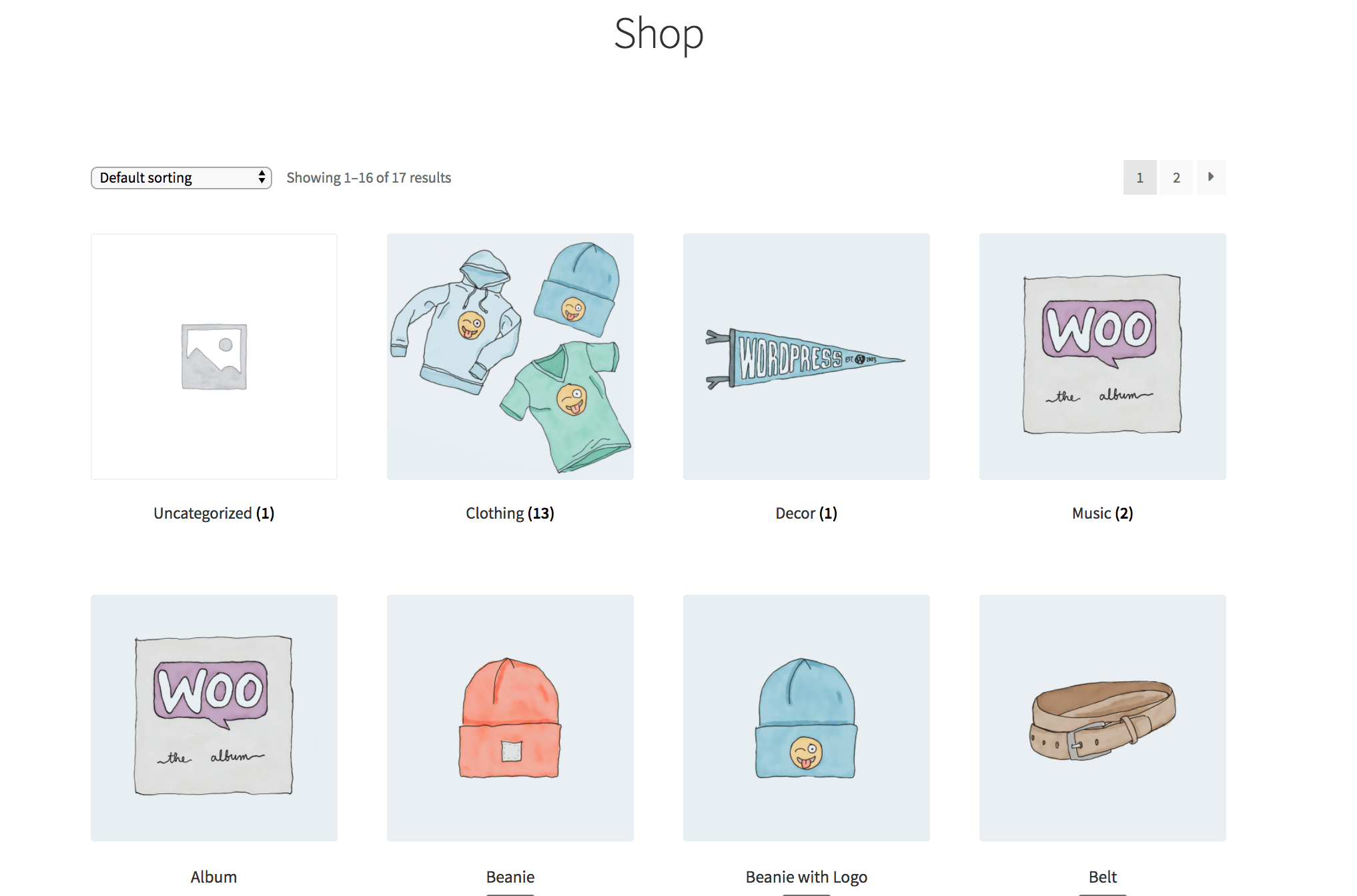 Screenshot of a frontend WooCommerce shop page that contains the Uncategorized category thumbnail.