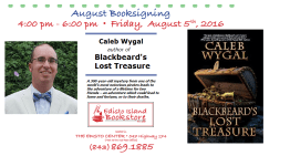 Caleb Wygal to sign copies of Blackbeard's Lost Treasure at the Edisto Bookstore on August 5th