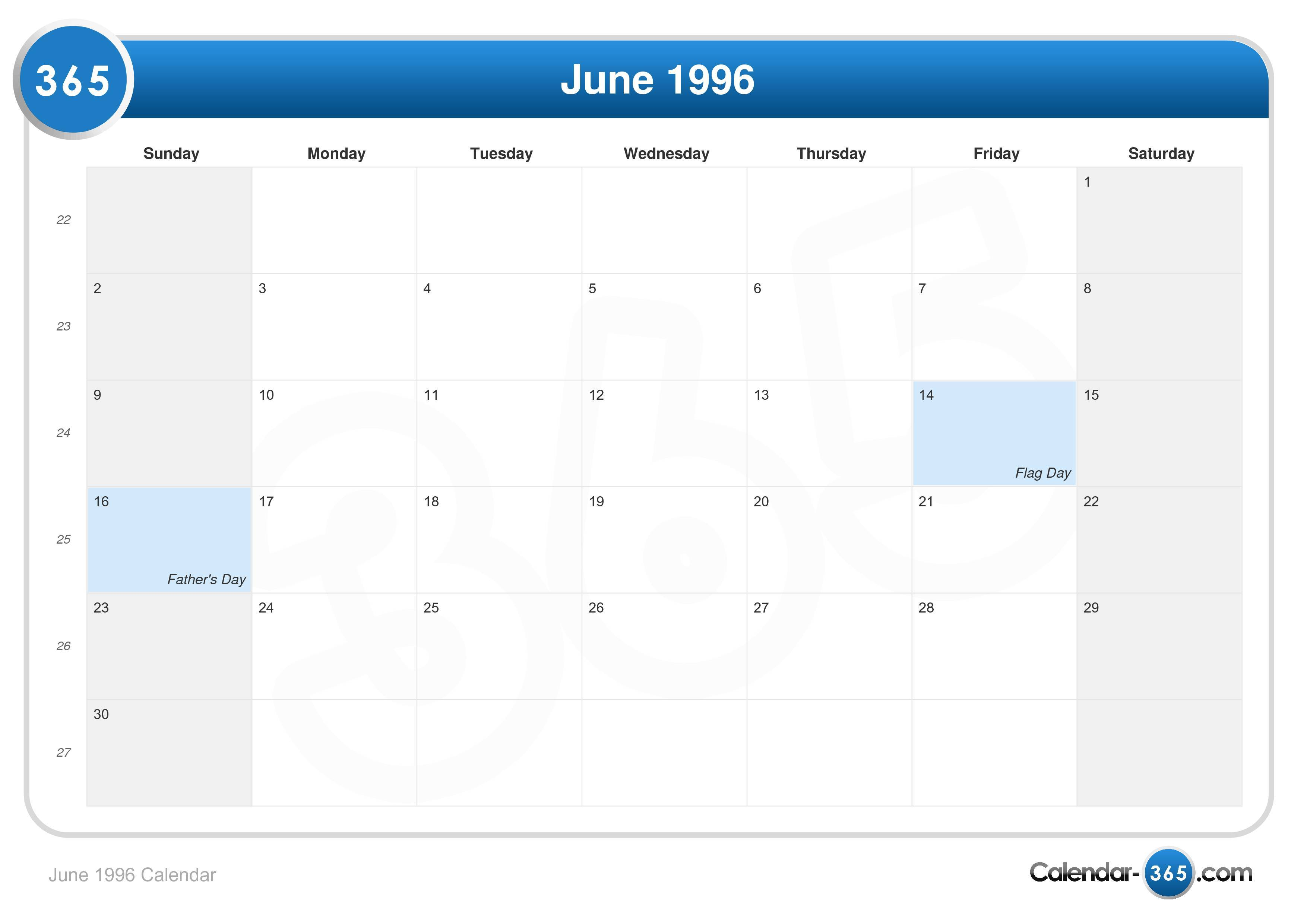 June 1996 Calendar