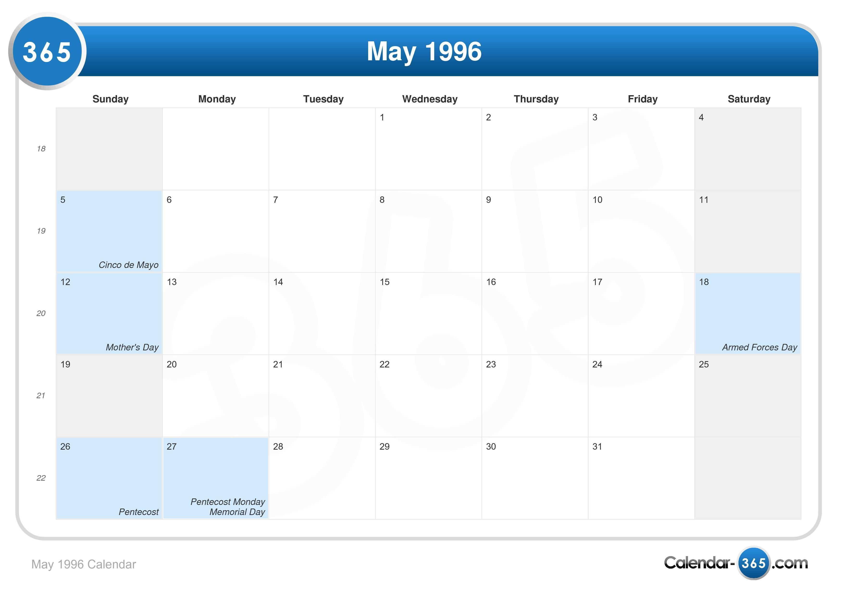 May 1996 Calendar