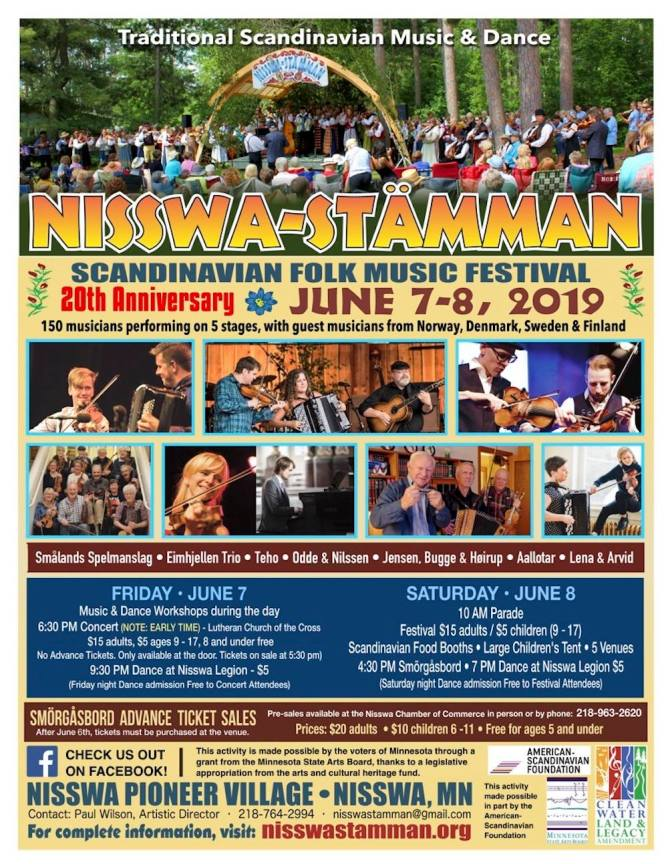 A flyer for the Nisswa Stamman Festival.