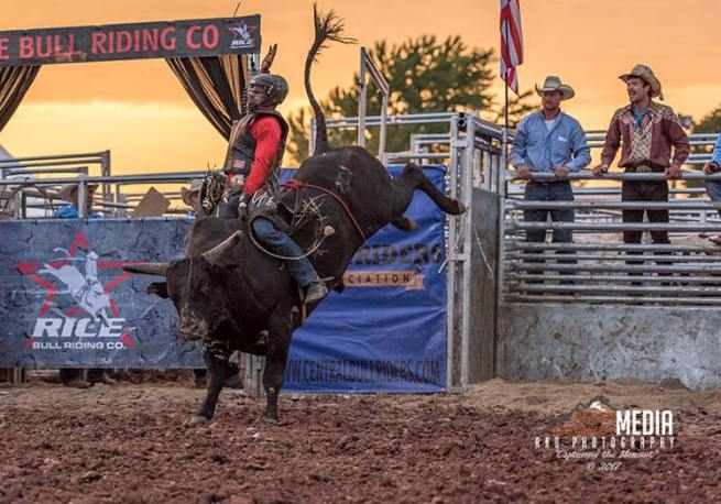 A man riding a bull at a rodeo.