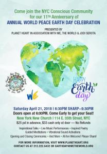 Planet Heart's 11th Annual World Peace Earth Day Celebration @ New York New Church
