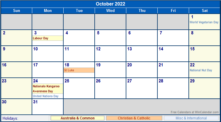 Sometimes it is handy to have a calendar for your current month on your cubical wall. October 2022 Australia Calendar with Holidays for printing ...