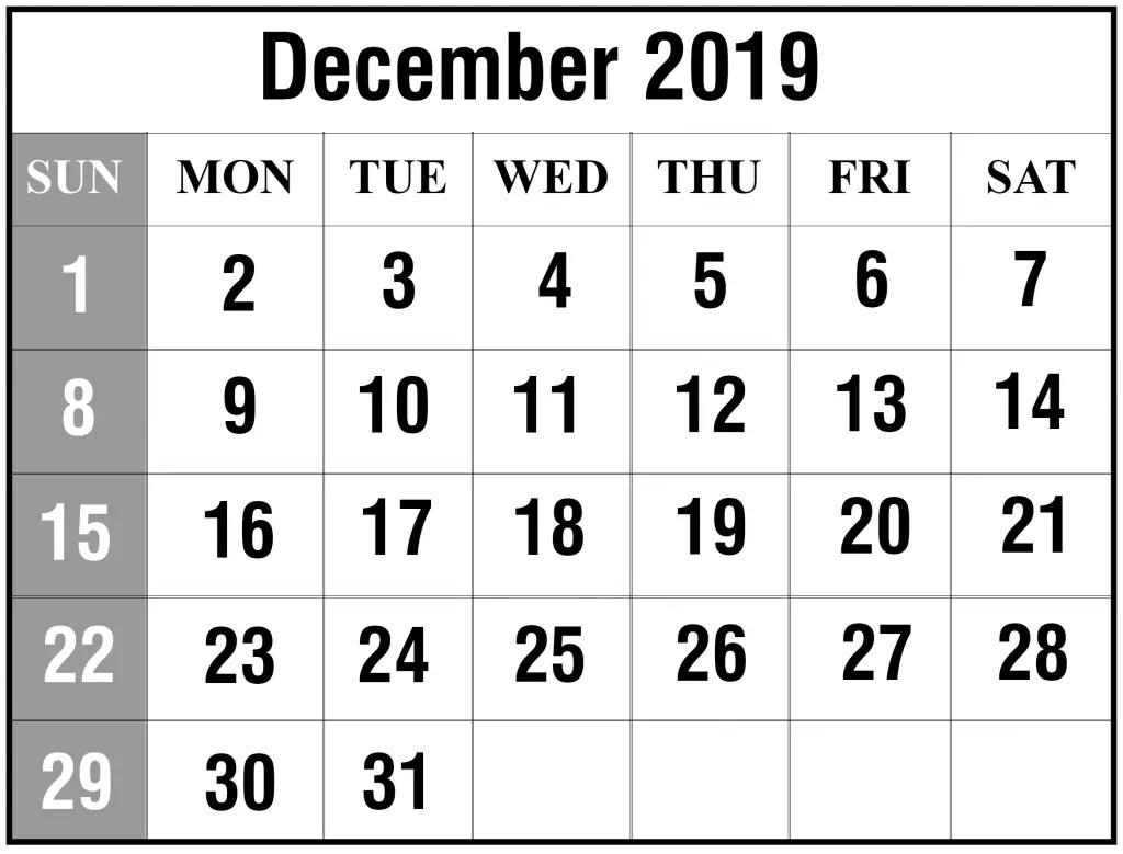 Free December Printable Calendar Template In