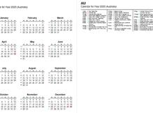 2020 Full Year Calendar with Australia Holidays