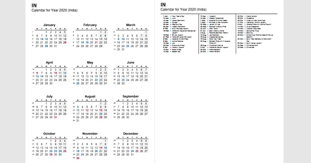 2020 Full Year Calendar with India Holidays