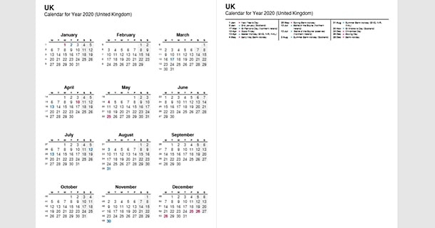 2020 Full Year Calendar with UK Holidays