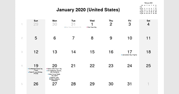 January 2020 Calendar with US Holidays – 2020 Calendar
